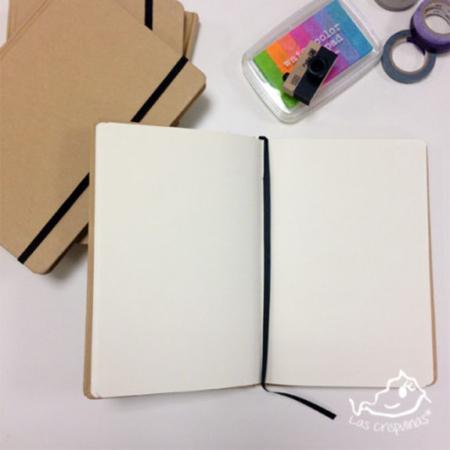 Libreta craft grande con goma elástica par de 3 studio