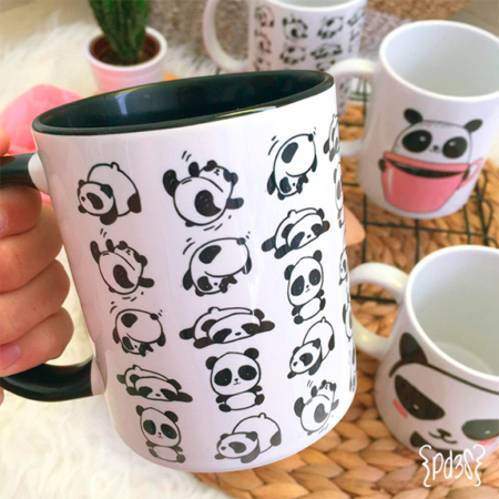 par de 3 studio taza panda
