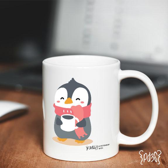 Par de 3 studio taza pingüino