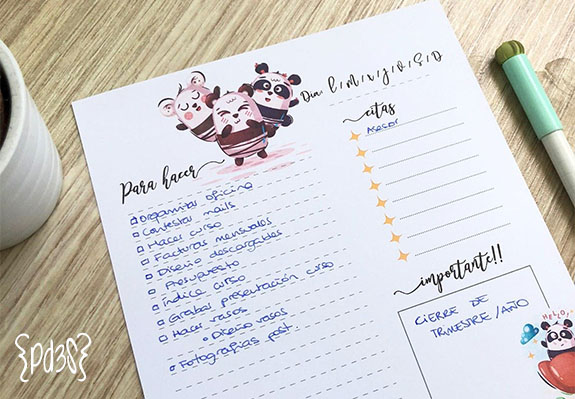 Par de 3 studio planificador panda