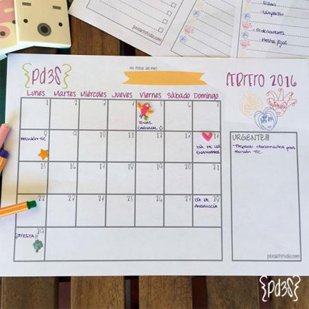 Par de 3 Studio descargable calendario febrero
