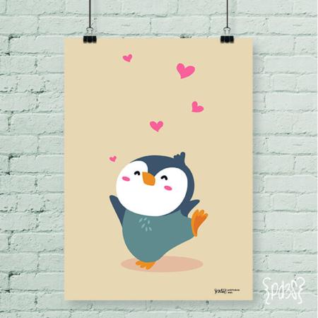 Par de 3 Studio lamina pingüino love