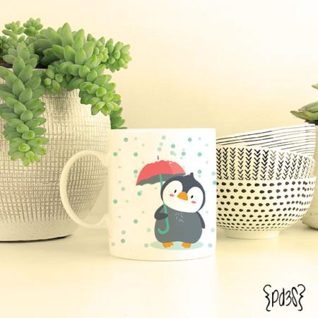 Par de 3 studio taza pingüino let it snow navidad