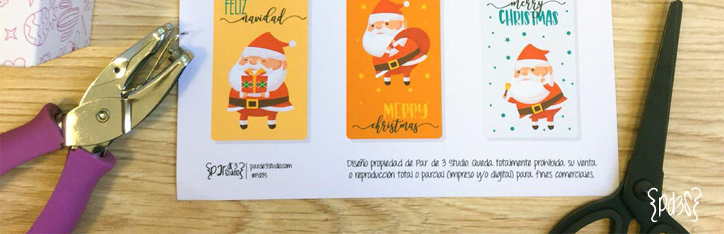 Par de 3 studio etiquetas navideñas